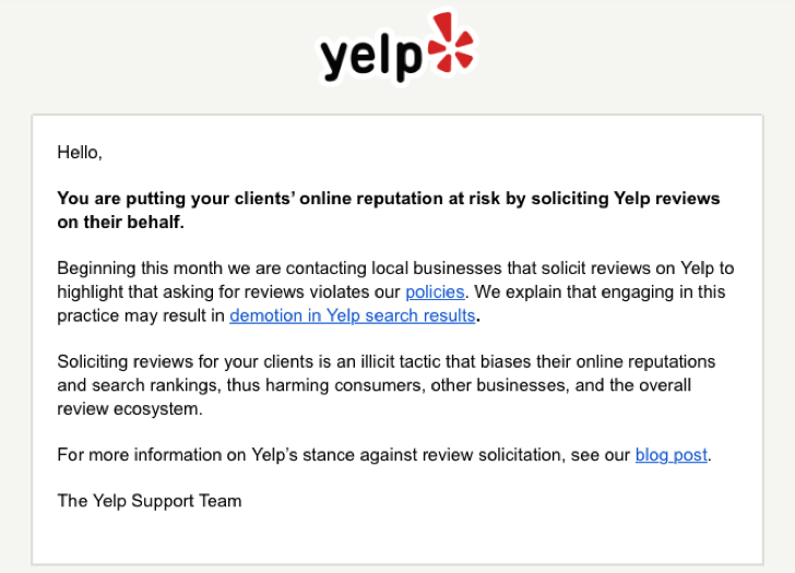 Yelp Review Policy